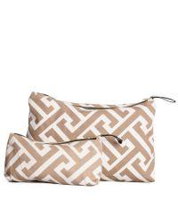 große Baumwoll-Tasche mit Reißverschluss und geometrischem Muster, weiß/braun