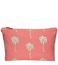 kleines Baumwoll-Täschchen, Kosmetiktasche mit goldener Palmen-Stickerei, korallenfarben