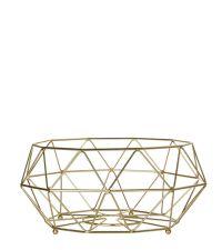 geometrisch geformte, bauchige Obstschale aus goldenem Eisendraht