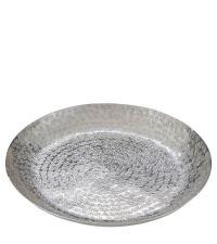 große runde Schale aus Aluminium in Hammerschlag-Optik, silber
