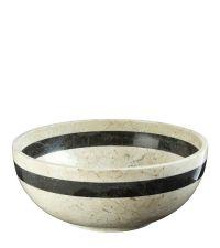 edle, cremefarbene Schale mit schwarzer Umrandung aus Marmor