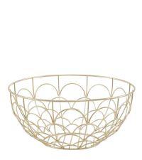 runde Obstschale aus zartem, geometrisch geformten Eisendraht, gold