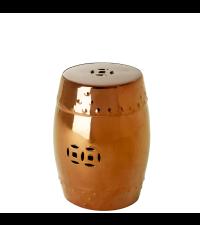 schimmernder Keramikhocker in Kupfer mit Cut-Outs