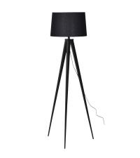 schlichte, elegante Stehlampe mit Stativfuß in schwarz