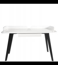 Schreibtisch im Retro-Style mit weißer Tischplatte & Aufsatz, Füße Wenge furniert