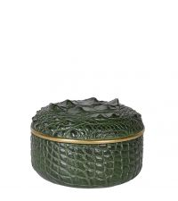runde Schmuckdose, Aufbewahrungsbox in Kroko-Optik mit goldener Umrandung, dunkelgrün