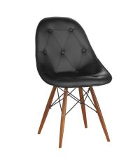 moderner Sessel in Leder-Optik mit Knopfheftung & Stativfuß schwarz