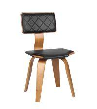 moderner Sessel mit Kunstlederbezug Rahmen Nussbaum furniert, schwarz