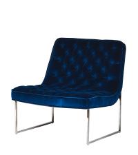 eleganter Club-Sessel aus Samt mit dichter Knopfheftung, dunkelblau