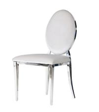 Sessel mit glänzendem Chromrahmen und hell silberfarbenem Samtbezug