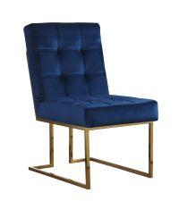 moderner Samtstuhl mit glänzendem Messingrahmen und dunkelblauem Samtbezug