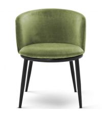 gepolstertes 2er Sessel-Set mit runder Lehne, Samtüberzug und schwarzen Stahlfüßen, moosgrün