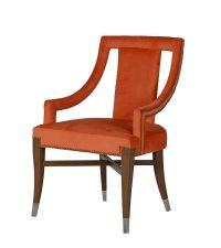 knalliger Esszimmerstuhl mit Nieten, orange
