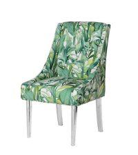 Esszimmerstuhl mit tropischem Blätter-Print und Acryl-Füßen