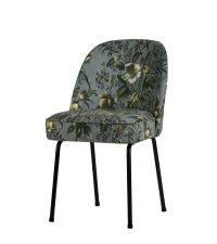 2er-Set Esszimmerstühle mit grauem Stoffbezug in grüner Pflanzen-Musterung und schwarzen Füßen