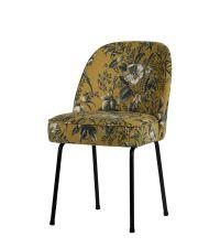 2er-Set Esszimmerstühle mit senfgelbem Stoffbezug in grüner Pflanzen-Musterung und schwarzen Füßen