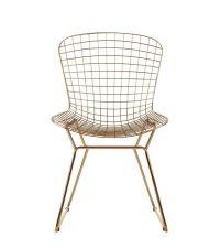 gewölbter Sessel aus goldenem Metallrahmen mit kleinem Quadrat-Muster