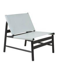 Sessel im Retro-Style mit geneigter Rückenlehne, grau & schwarz
