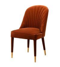zierlicher Sessel mit gerillter Lehne, Samtsessel rostfarben & gold