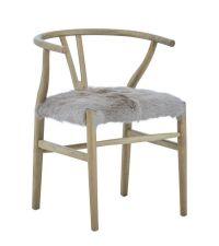 moderner Stuhl aus Eichenholz, Sitzfläche mit Fellbezug