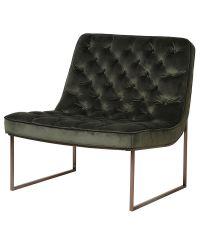 eleganter Club-Sessel aus Samt mit dichter Knopfheftung, olivgrün & antikgold