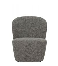 gerundeter Loungesessel mit grauem Stoffbezug