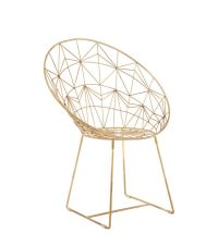 trendiger matt goldener Stuhl mit geometrischem Muster aus Metall, moderner gerundeter Sessel gold