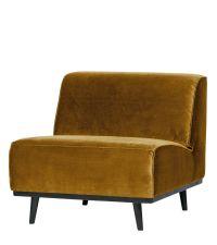 breiter Loungesessel mit Samtbezug & schwarzen Füßen, Samtsessel ocker