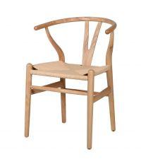 Essplatzstuhl Wishbone aus hellem Holz mit gewebter Sitzfläche aus Seilen
