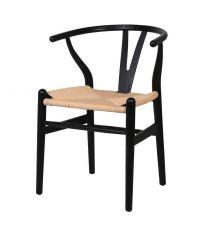 Essplatzstuhl Wishbone aus schwarzem Holz mit gewebter Sitzfläche aus naturfarbenen Seilen