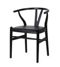 Essplatzstuhl Wishbone aus schwarzem Holz mit Sitzfläche aus Kunstleder