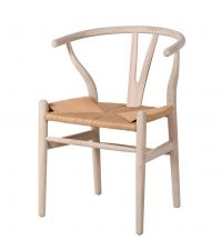 Essplatzstuhl Wishbone aus Eichenholz mit gewebter Sitzfläche aus naturfarbenen Seilen