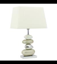 moderne Tischlampe mit Steinfuß aus Keramik Lampenschirm champagner