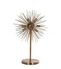 Tischleuchte mit schimmernden Stacheln aus goldenem Metall und mehreren Kerzenlampen
