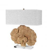 hohe Tischleuchte mit Korallenfuß in gold & Leinenschirm