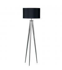 moderne & elegante Stehlampe mit zartem Stativfuß aus Metall, Lampenschirm schwarz