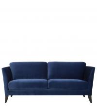 stilvolles Samtsofa mit Holzfüßen, 3-Sitzer, dunkelblau