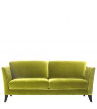 stilvolles Samtsofa mit Holzfüßen, 3-Sitzer, lime green