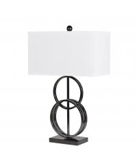 moderne Tischlampe mit Metallringen und weißem Lampenschirm