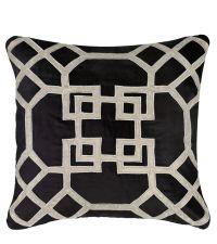 schwarzes Dekokissen aus Samt mit geometrischem Muster
