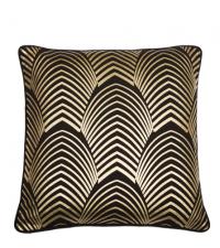 Kissenhülle im Art-Deco Style schwarz & metallisch gold