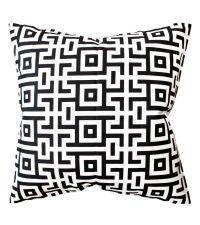 Kissenhülle aus Baumwolle mit geometrischem Muster, schwarz/weiß