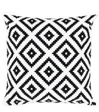 Dekokissen-Hülle mit geometrisch appliziertem Muster weiß & schwarz