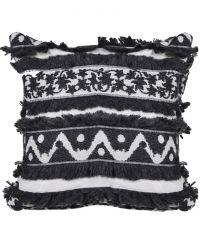 kuschelige Kissenhülle im Ethno-Style mit Fransen, schwarz & grau