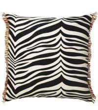 Kissen aus Baumwolle im Zebra-Look mit Randverzierungen, schwarz