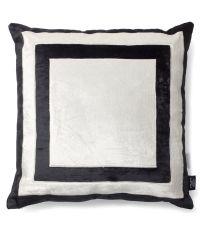 handgefertigter Kissenbezug aus Samt, schwarz und weiß