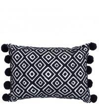 rechteckiges Kissen mit quadratischem Muster und Bommeln, schwarz