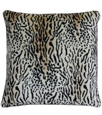 Kissenhülle mit Tiger-Print-Muster in beige und schwarz