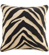 großes Stoffkissen mit Zebra-Muster in schwarz/beige gefüllt mit Entenfedern, Eichholtz