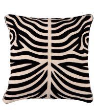 handbesticktes Baumwoll-Kissen mit Wolle in symmetrischem Zebra-Muster in schwarz/beige, Eichholtz